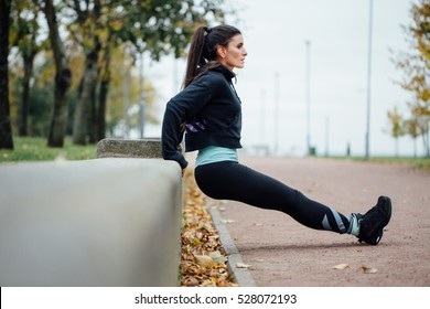 Portrait of woman in sportswear, doing fitness push-ups exercise at fall park, outdoor. Healthy lifestyle, weight lossing and sporting theme concept shot. Triceps dips.