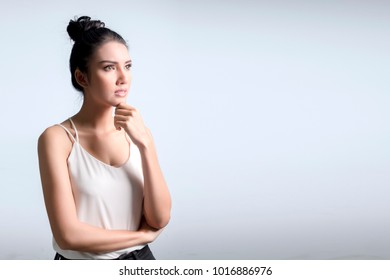 Portrait of Woman are thinkin or confused