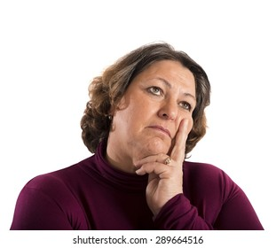 Portrait of a woman thinking about problems