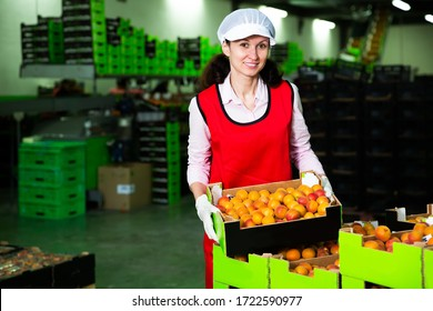 Portrait of woman in uniform holding cardboard box of apricots at warehouse