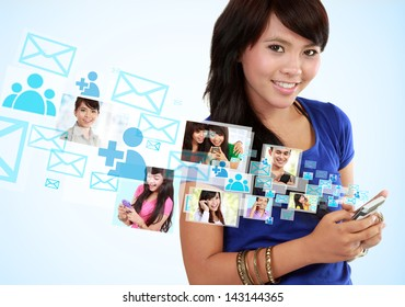 Portrait woman using mobile phone, text messaging, social media, on mobile phone
