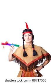 Portrait of woman wearing indian costume with pipe of peace on isolated white background