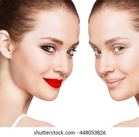 Portrait of woman with and without makeup