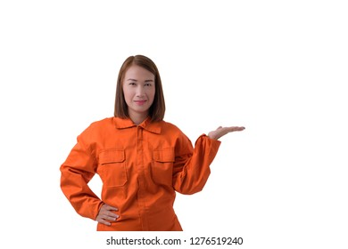 portrait of a woman worker in Mechanic Jumpsuit is open hand isolated on white background with clipping path