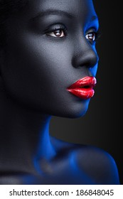 Portrait of women with shiny red lips on black background