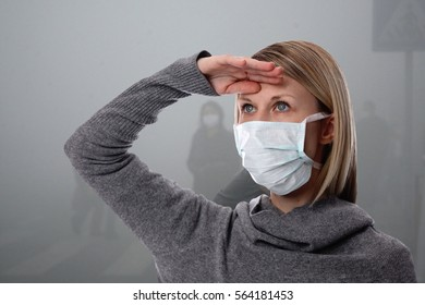 Portrait of women wearing facial hygienic mask outdoors. Ecology, air pollution, Environmental awareness concept
