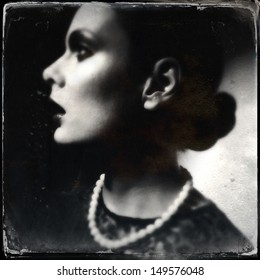 Portrait of a women. Wet Plate look like photo, taken with smart phone, in-Camera Editing.