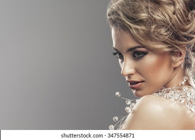 Portrait of wonderful young blonde woman