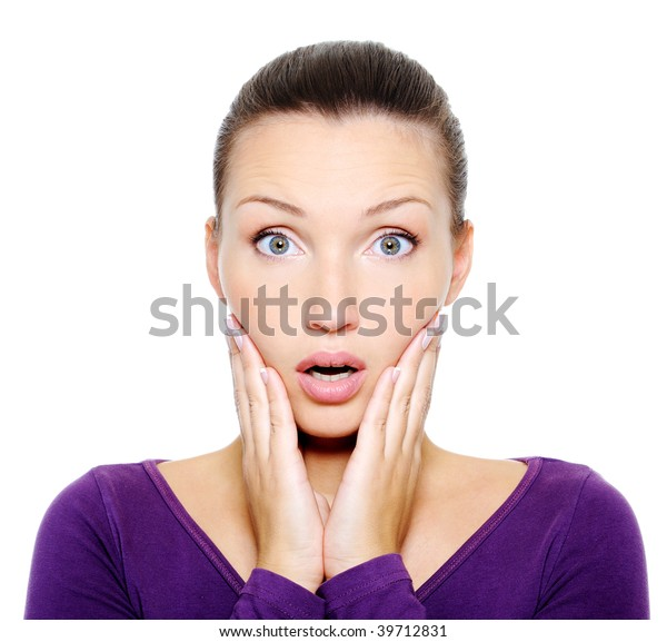 Portrait of wondering and surprise female face over white background