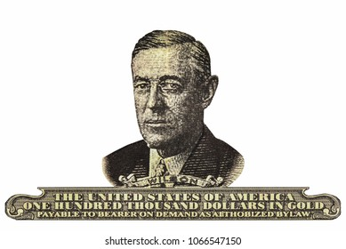 portrait of Woodrow Wilson, 28th President of the United States in black and white
