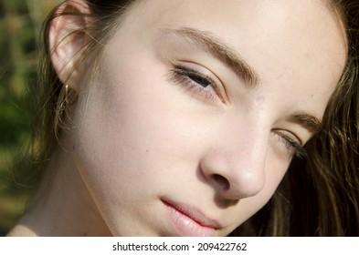 Portrait of a worried girl