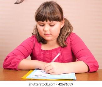 portrait of writing girl
