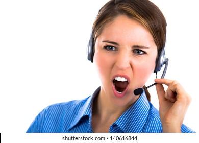 Portrait of a yelling customer representative