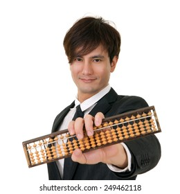 Portrait of you Asian business man holding Chinese traditional abacus on white background.
