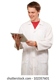 portrait of a young academic holding a digital tablet over a white background