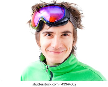 Portrait of a young active man. Skier or snowboarder with sport mask. Isolated