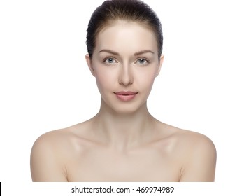 Portrait of young adult woman with health skin of face, SkinCare concept Beautiful female model on white background
