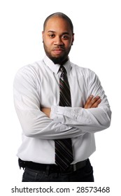 Portrait of young African American businessman with arms crossed