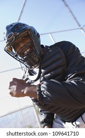 Portrait of a young African American softball referee