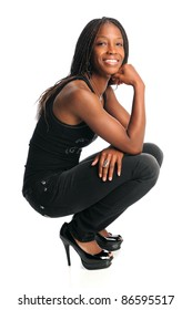 Portrait of young African American woman in casual clothes isolated over white background