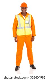 portrait of young african industrial worker isolated on white background