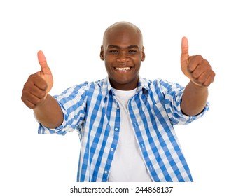 portrait of young african man giving thumbs up on white background