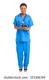 portrait of young african nurse with tablet computer isolated on white