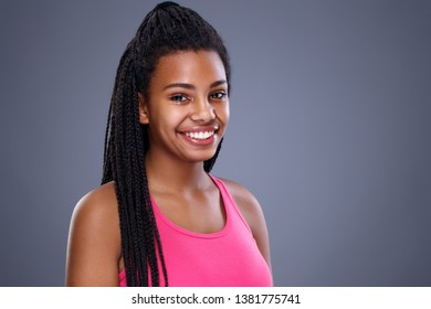Portrait of young African smiling girl