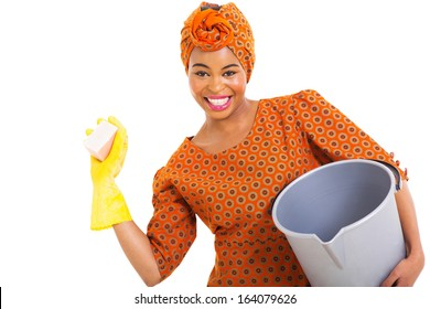 portrait of young african woman cleaning on white background