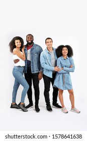 Portrait of young African-American people on white background