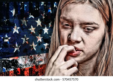 Portrait of a Young American Woman Biting her Fingernails and Worrying about the Future of America with an American Flag Background and Hyperrealistic Dystopian Grunge Effect