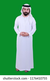 portrait Of A young Arab Man Wearing UAE Traditional Dress , With A Welcome Smile ( Emirati Kandora UAE )