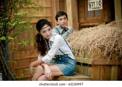 Portrait of young artistic couple in romantic emotion