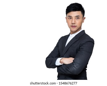 Portrait of Young Asia businessman standing on white background with clipping path