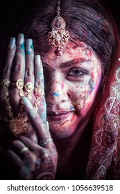 Portrait young asia woman of Indian dress in celebrating Holi color festival.