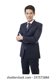 portrait of a young asian businessman, isolated on white.
