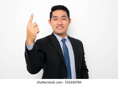 Portrait of young Asian businessmen.Focus on hands