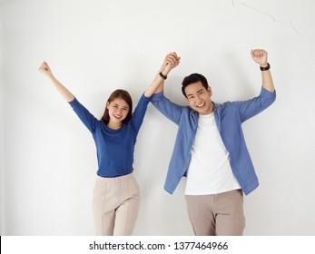 portrait of young Asian couple in white background