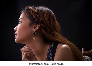 Portrait of young Asian girl - vintage style close-up