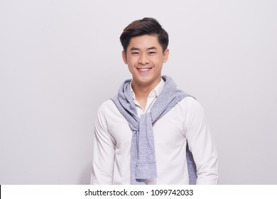 portrait of young asian man isolated on white background