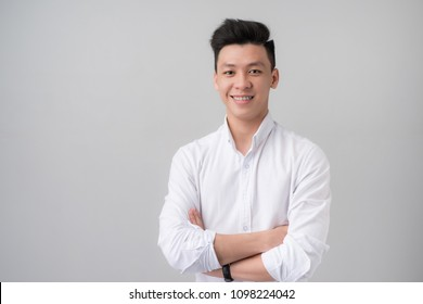Portrait of young asian man in studio.