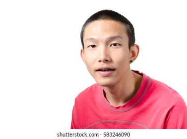 Portrait of a young Asian man wearing red t-shirt isolated on white background