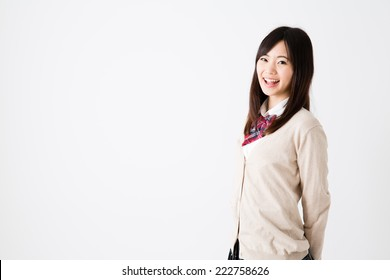 portrait of young asian student on white background