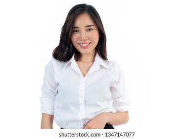 Portrait of young Asian Thai woman in an on white background.