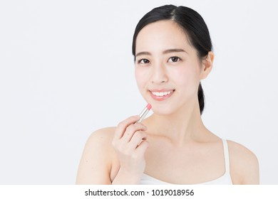 portrait of young asian woman beauty image on white background