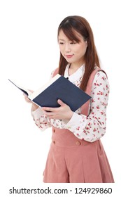 Portrait of young asian woman reading book isolated on white background