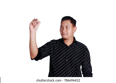 Portrait of young attractive Asian man wearing black shirt writing with marker on white copy space