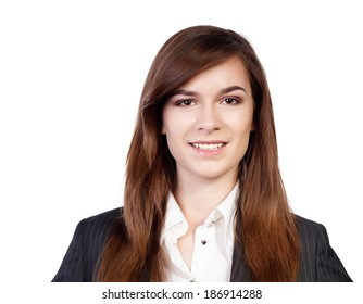 Portrait of a young attractive business woman on white