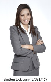 Portrait of a young attractive businesswoman executive gesture beautiful pretty positive smiling suit