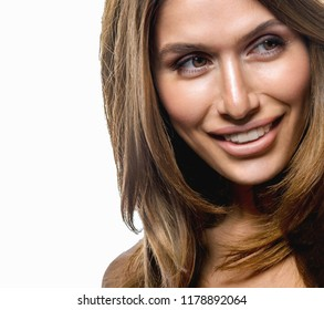 portrait of young attractive caucasian smiling woman isolated on white studio shot skın haır hand and shoulders